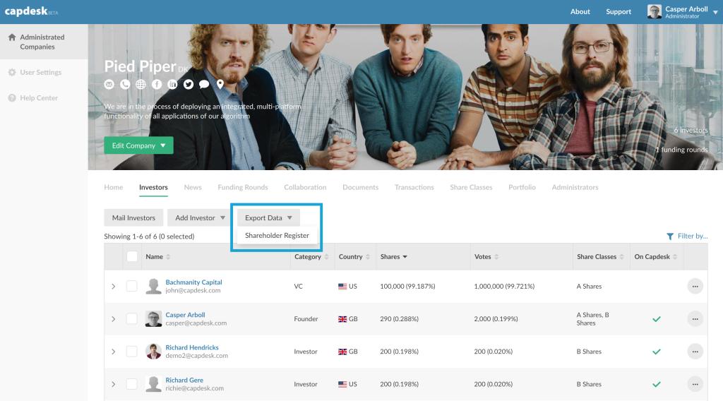 How to export shareholder register on Capdesk