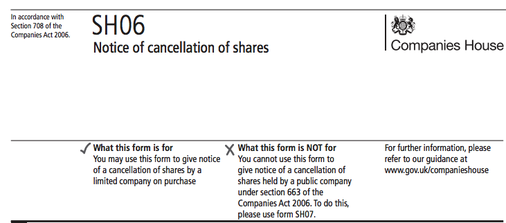 Notice of cancellation of shares for companies house