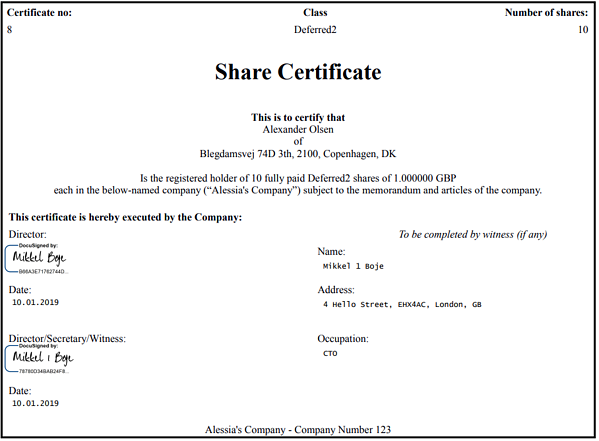 signing share certificates digitally