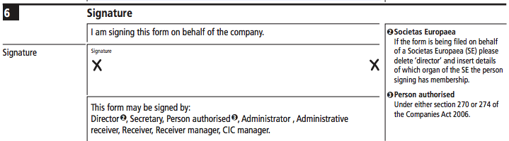 sign cancellations of shares for Companies House